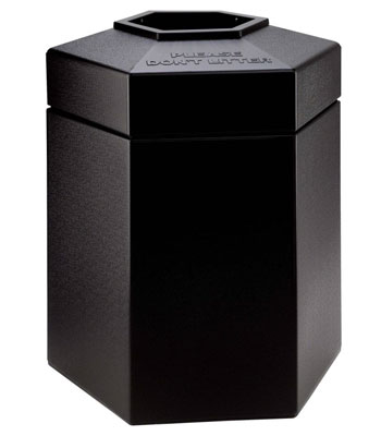 PolyTec Series® 45 Gallon Hex Black Waste Container